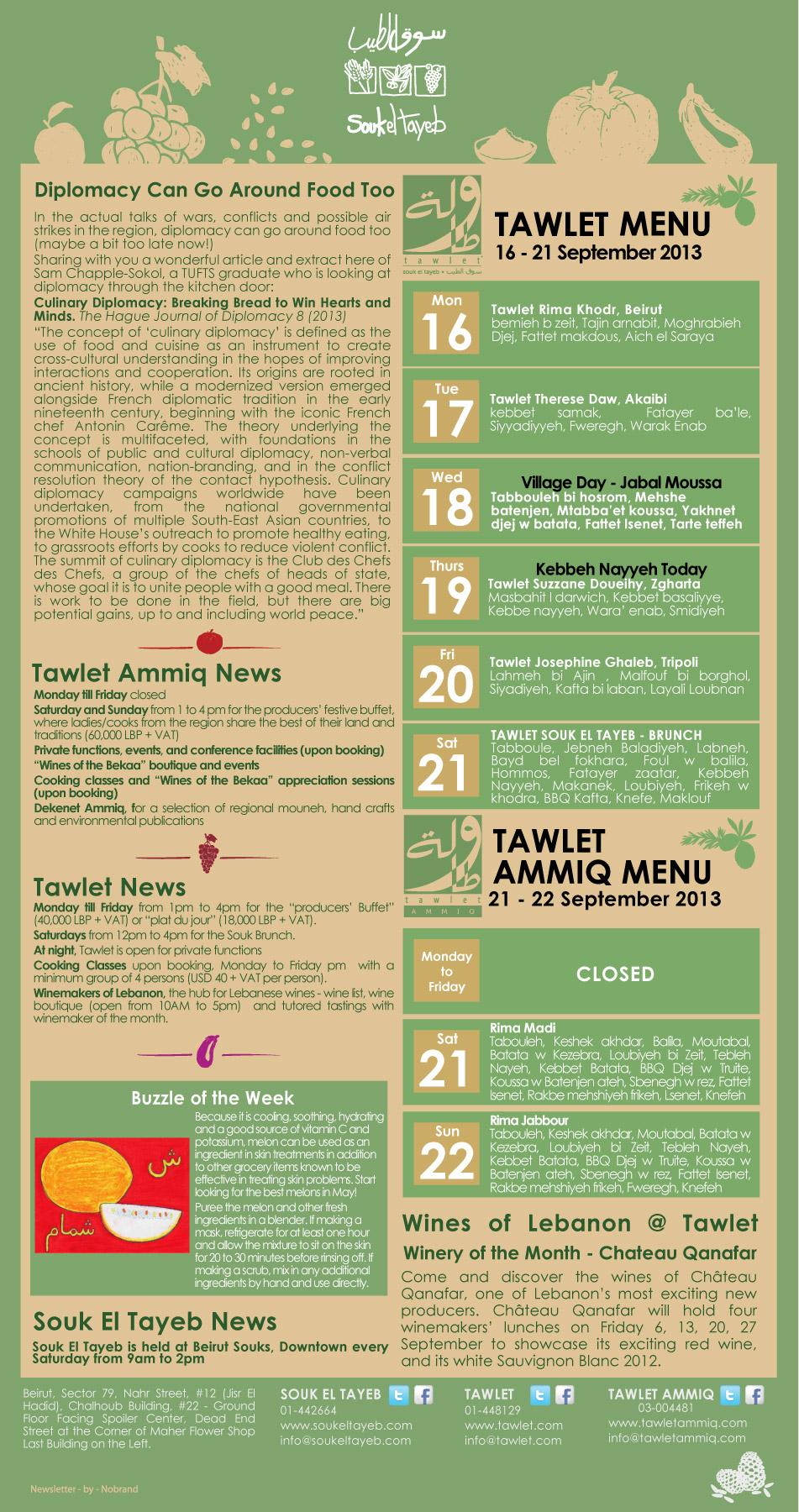 Souk el Tayeb Newsletter