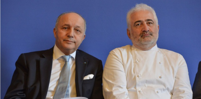 French Minister Laurent Fabius and Chef Guy Savoy