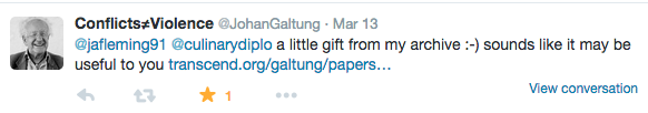 Tweet from Johan Galtung